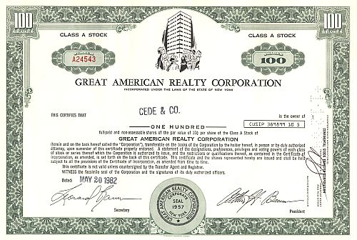 Great American Realty Corporation historische Wertpapiere - alte Aktien