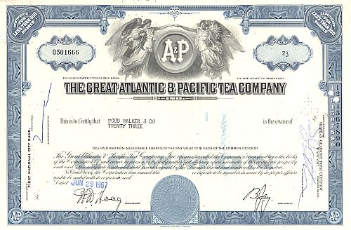 Great Atlantic & Pacific Tea Company historische Wertpapiere - alte Aktien