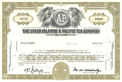 Great Atlantic & Pacific Tea Company historic stocks - old certificates