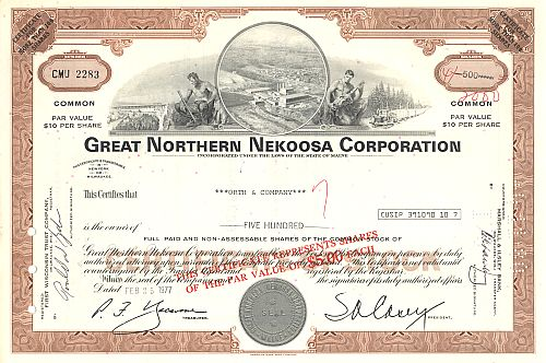 Great Northern Nekoosa Corporation historic stocks - old certificates
