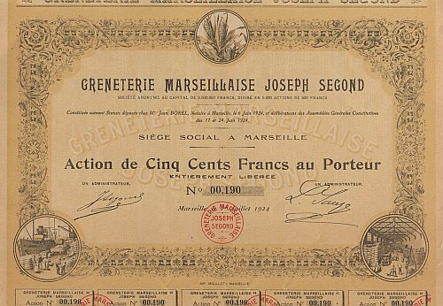 Greneterie Marseillaise Joseph Segond historic stocks - old certificates