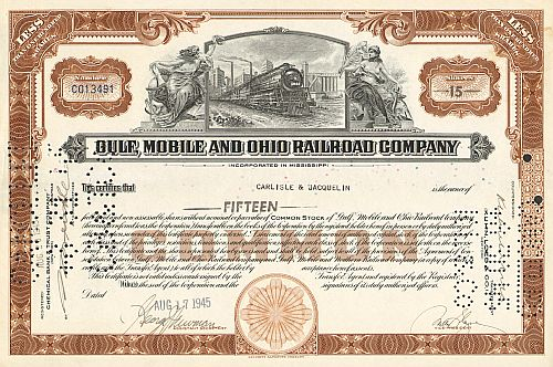 Gulf Mobile and Ohio Railroad Company historic stocks - old certificates