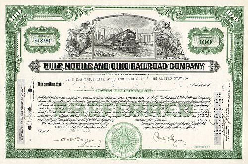 Gulf Mobile and Ohio Railroad Company (100Shares)