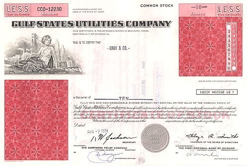Gulf States Utilities Company (neue Ausgabe) historic stocks - old certificates