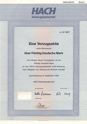 Hach Aktiengesellschaft historic stocks - old certificates