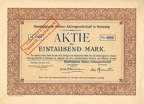 Hamburgische Südsee-AG in Hamburg - old certificates