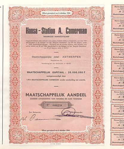 Hansa - Station A. Camerman historic stocks - old certificates