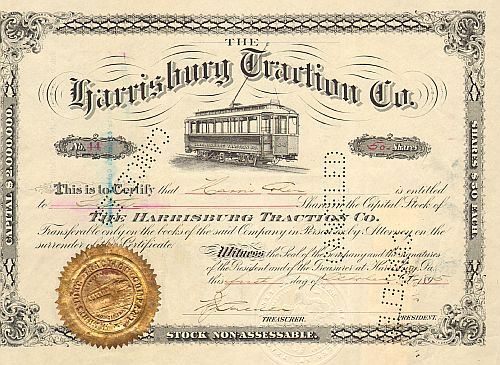 Harrisburg Traction Co.  historic stocks - old certificates