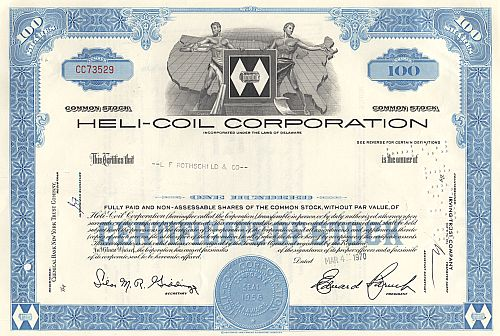 Heli-Coil Corporation historic stocks - old certificates