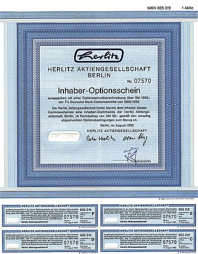Herlitz Aktiengesellschaft historic stocks - old certificates