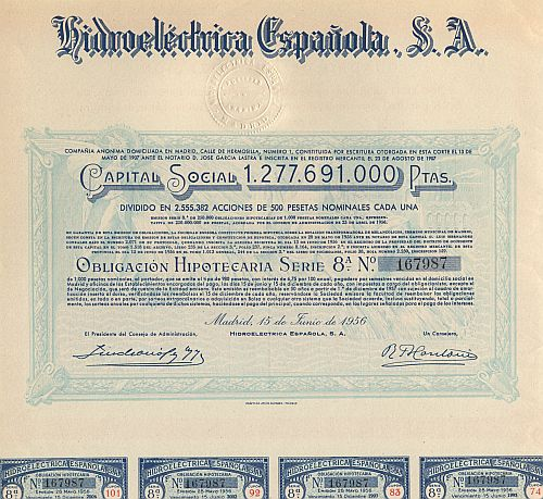 Hidroeléctrica Espanola, S.A. historic stocks - old certificates