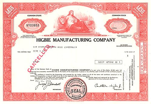 Higbie Manufacturing Company historic stocks - old certificates