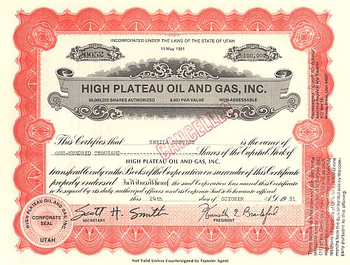 High Plateau Oil and Gas, Inc. historische Wertpapiere - alte Aktien