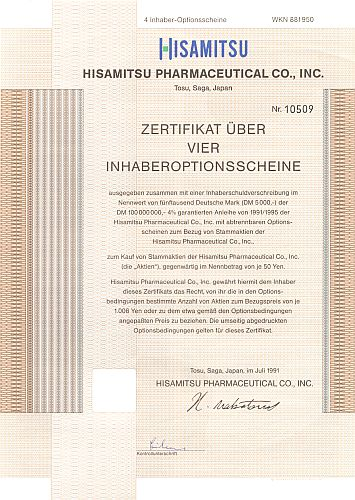 Hisamitsu Pharmaceutical Corporation historic stocks - old certificates
