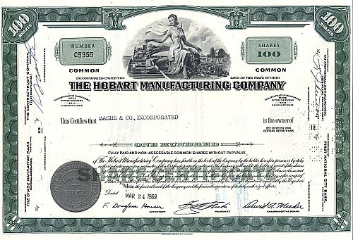 Hobart Manufacturing Company historic stocks - old certificates