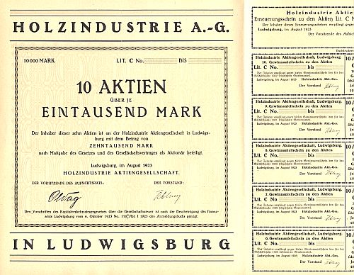 Holzindustrie AG historic stocks - old certificates