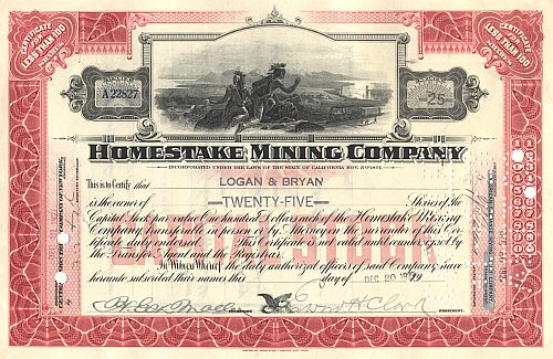 Homestake Mining Company ( Autograph Clark) historic stocks - old certificates
