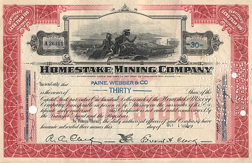 Homestake Mining Company (Faksimile Autograph Clark) historic stocks - old certificates