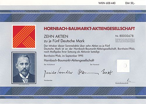Hornbach-Baumarkt-Aktiengesellschaft historic stocks - old certificates