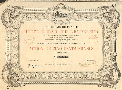 Hotel Relais de l'Empereur historic stocks - old certificates