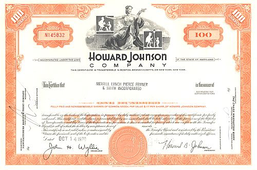 Howard Johnson Company historic stocks - old certificates