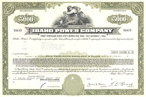 Idaho Power Company historic stocks - old certificates