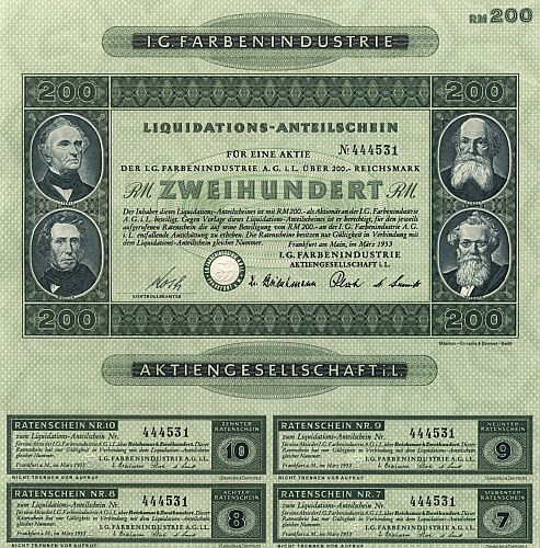 I. G. Farbenindustrie Aktiengesellschaft i. L. historic stocks - old certificates