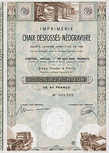 Imprimerie Chaix-Desfossès Néogravure historic stocks - old certificates