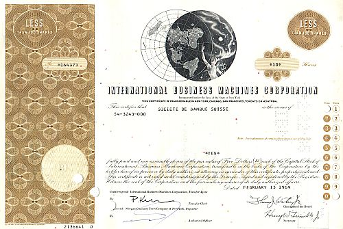 International Business Machines Corporation (IBM) historic stocks - old certificates