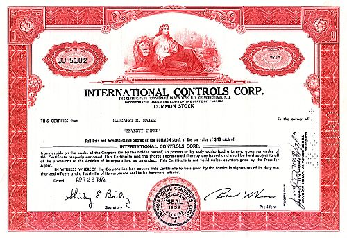 International Controls Corp. historische Wertpapiere - alte Aktien