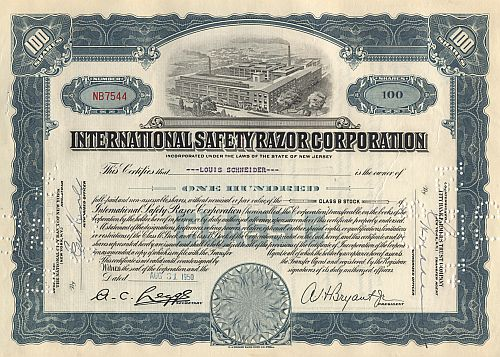 International Safety Razor Corporation historische Wertpapiere - alte Aktien