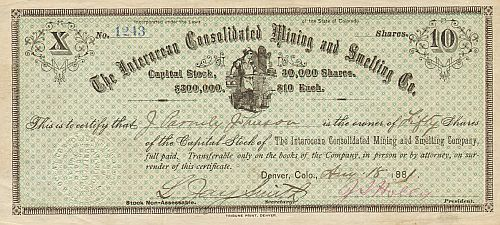 Interocean Consolidated Mining and Smelting Co. historic stocks - old certificates