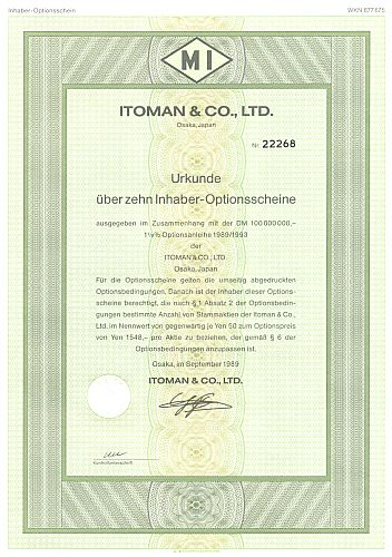 Itoman & Co. historic stocks - old certificates