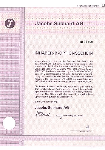 Jacobs Suchard AG historic stocks - old certificates