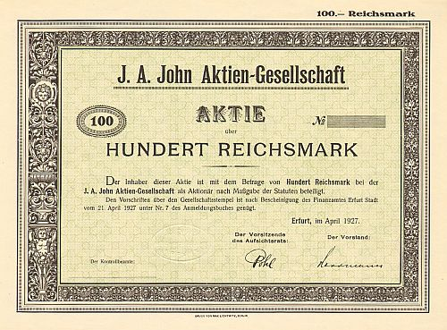 J. A. John Aktien - Gesellschaft  historic stocks - old certificates