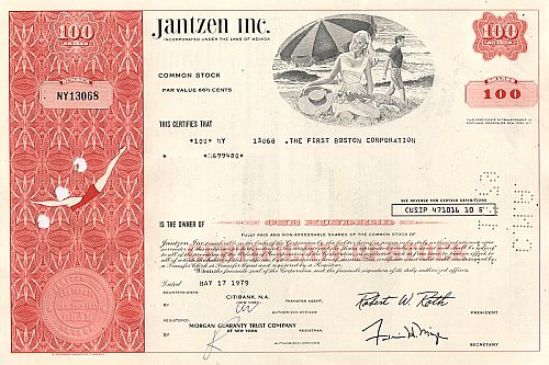 Jantzen Inc. historic stocks - old certificates
