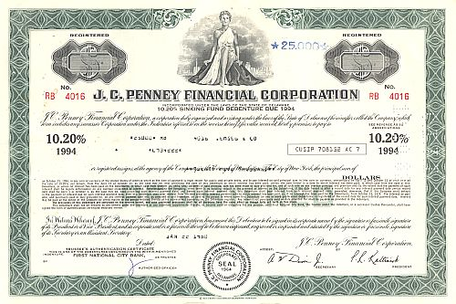 J.C. Penny Financial Company, Inc. historic stocks - old certificates