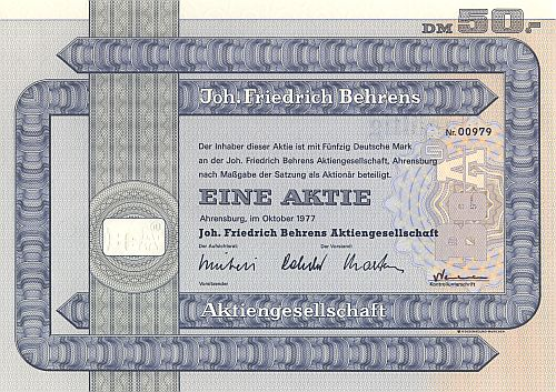 Joh. Friedrich Behrens historic stocks - old certificates