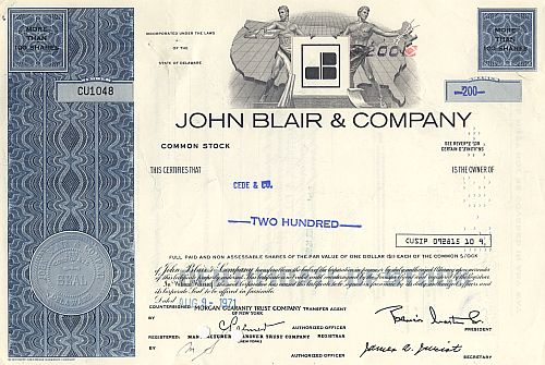 John Blair & Company historic stocks - old certificates