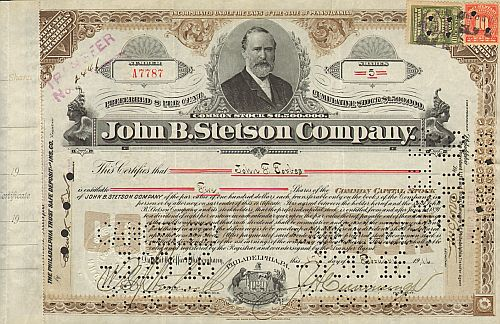 John B. Stetson Company   historic stocks - old certificates