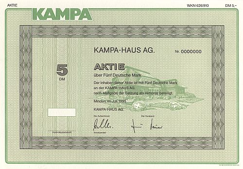 Kampa-Haus AG. historic stocks - old certificates