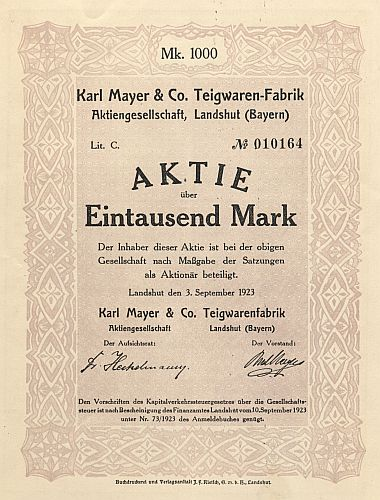 Karl Mayer & Co. Teigwaren-Fabrik Aktiengesellschaft, Landshut (Bayern) historic stocks - old certificates