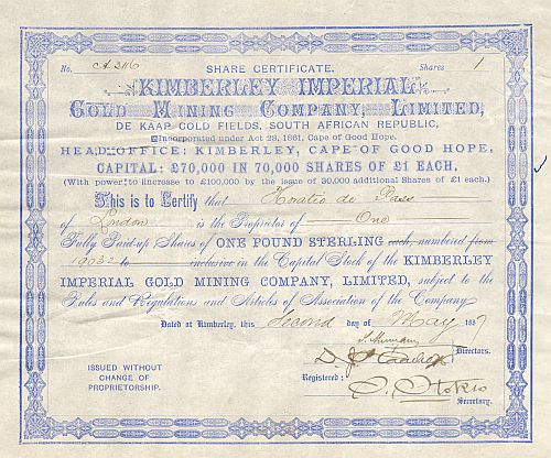 Kimberley Imperial Gold Mining Company historic stocks - old certificates