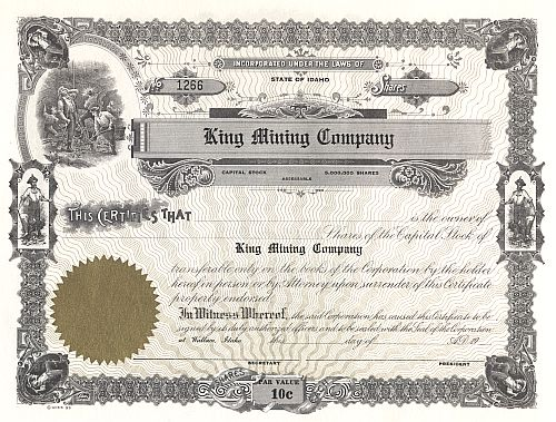 King Mining Company historic stocks - old certificates