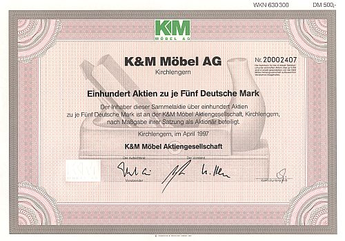 K&M Möbel AG historic stocks - old certificates