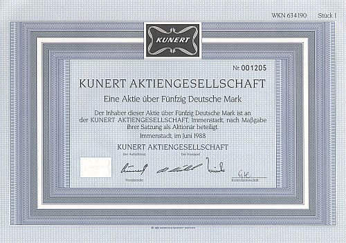 Kunert Aktiengesellschaft historic stocks - old certificates