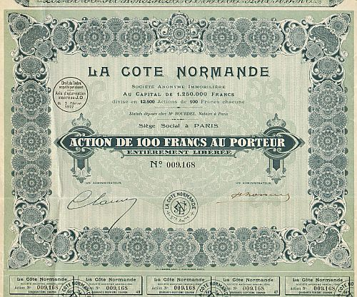 La Cote Normande  historic stocks - old certificates