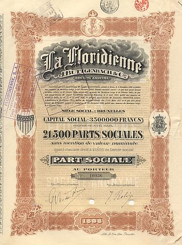 La Floridienne J. Buttgenbach & Cie. (1921) historic stocks - old certificates