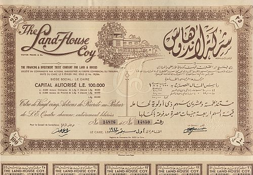 Land-House Coy (25er Vorzugsaktie) historic stocks - old certificates
