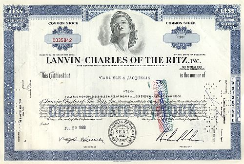 Lanvin-Charles of the Ritz historic stocks - old certificates